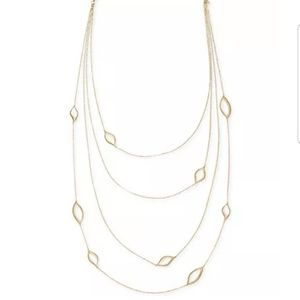 Rachel Roy gold open-leaves Multi-strand necklace